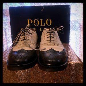 Polo Men Spectator Shoe.  Cream/Black